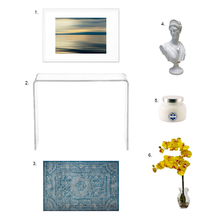 Lucite Entry Table Mood Board