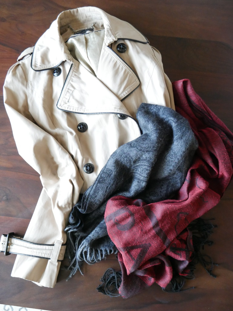 Trench Coat and Scarves